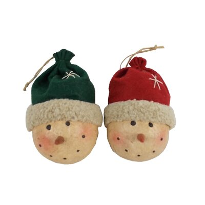 Snowman Heads with Fabric Beanie Ornament