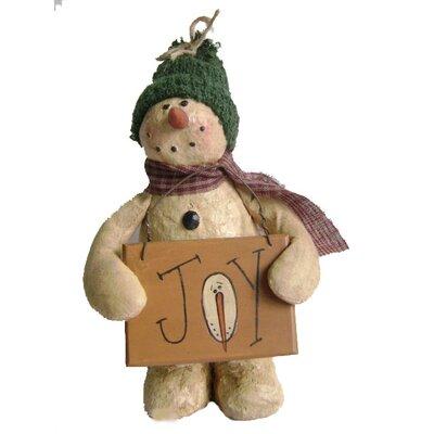 Collectible Vintage Snowman holding Joy Sign