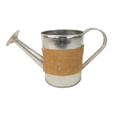 "Tin Watering Can with Burlap Cover Size: 10"" H x 4"" W x 5.25"" D"