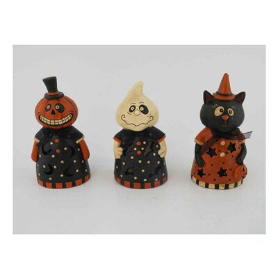 3 Piece Papier Mache Halloween LED Lighted Decor Set