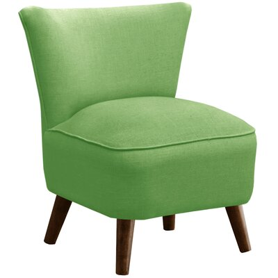 Crown Slipper Chair Upholstery: Linen Kelly Green