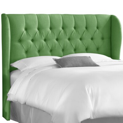 Elsa Upholstered Wingback Headboard Size: Queen, Body Fabric: Linen Kelly Green