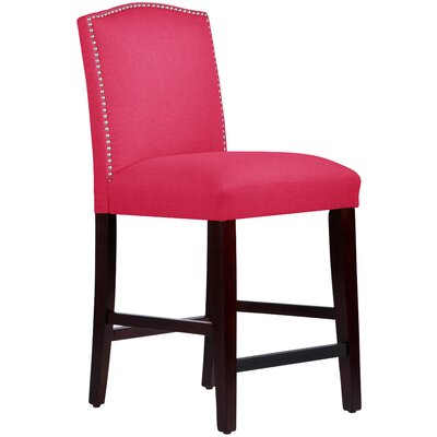 Nadia 26 inch Bar Stool Body Fabric: Linen Fuchsia