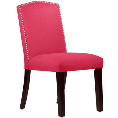 Nadia Parsons Chair with Nail Buttons Body Fabric: Linen Fuchsia