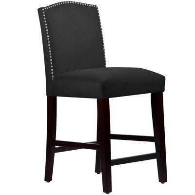 Nadia 26 Bar Stool Body Fabric: Velvet Black