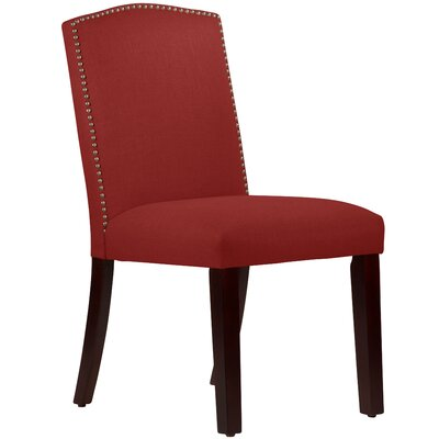 Nadia Parsons Chair with Nail Buttons Body Fabric: Linen Antique Red