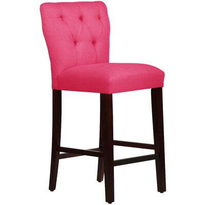 Evelina 31 Bar Stool Body Fabric: Linen Fuchsia