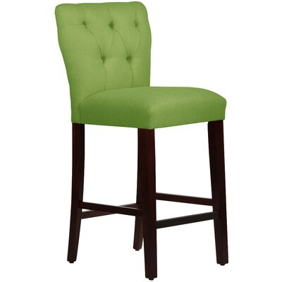 Evelina 31 Bar Stool Upholstery: Linen Kelly Green
