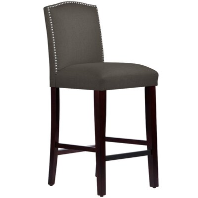 Nadia 31 Nail Button Bar Stool Body Fabric: Linen Laguna