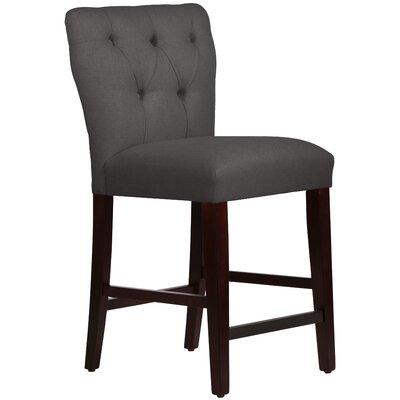 Evelina 26 Bar Stool Upholstery: Linen Cindersmoke