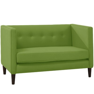 Crosby Chesterfield Settee Body Fabric: Linen Kelly Green