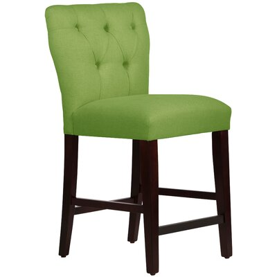 Evelina 26 Bar Stool Upholstery: Linen Kelly Green