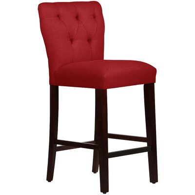 Evelina 31 Bar Stool Body Fabric: Linen Antique Red