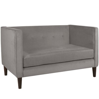 Crosby Chesterfield Settee Body Fabric: Velvet Steel Grey