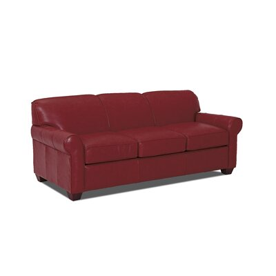 Jennifer Leather Sofa Body Fabric: Durango Strawberry, Leather Application: Leather Top
