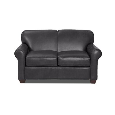 Jennifer Leather Loveseat Body Fabric: Steamboat Charcoal, Leather Application: Leather Top