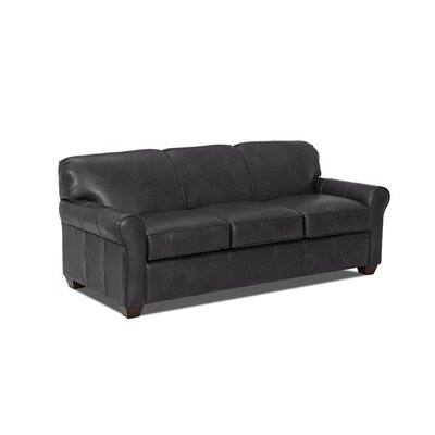 Jennifer Leather Sofa Body Fabric: Steamboat Charcoal, Leather Application: Leather Top