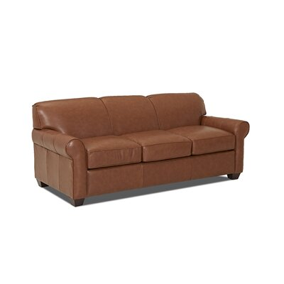 Jennifer Leather Sofa Body Fabric: Steamboat Putty, Leather Application: Leather Top