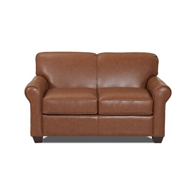 Jennifer Leather Loveseat Body Fabric: Durango Acorn, Leather Application: Leather Top