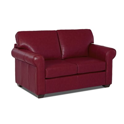 Rachel Leather Loveseat Leather Application: Leather Top, Body Fabric: Durango Strawberry