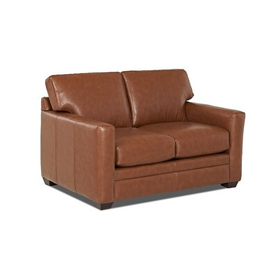 Carleton Leather Loveseat Body Fabric: Durango Acorn, Leather Application: Leather Top