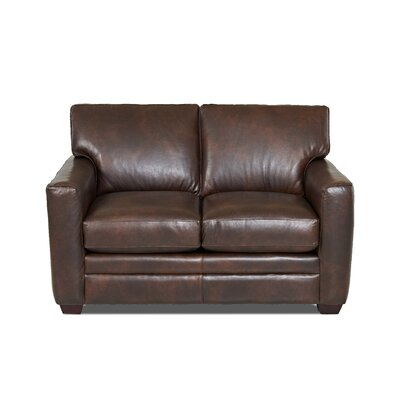 Carleton Leather Loveseat Body Fabric: Steamboat Driftwood, Leather Application: Leather Top