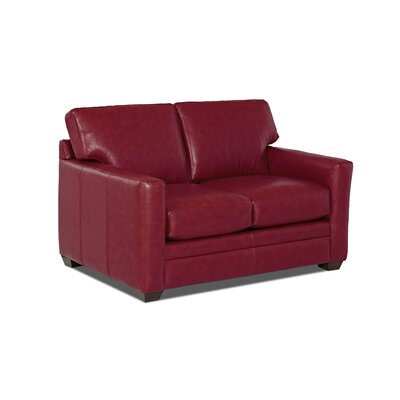 Carleton Leather Loveseat Body Fabric: Durango Strawberry, Leather Application: Leather Match