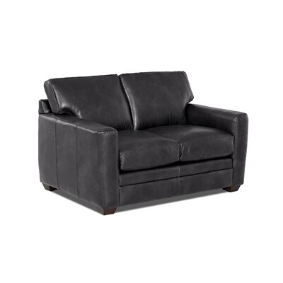 Carleton Leather Loveseat Body Fabric: Steamboat Charcoal, Leather Type: Faux Leather