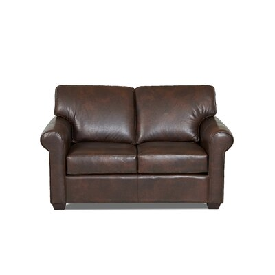 Rachel Leather Loveseat Body Fabric: Steamboat Driftwood, Leather Application: Leather Match