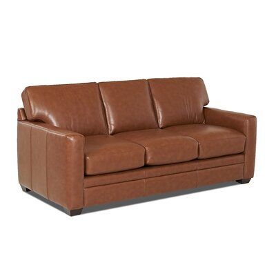 Carleton Leather Sofa Body Fabric: Durango Acorn, Leather Application: Leather Top