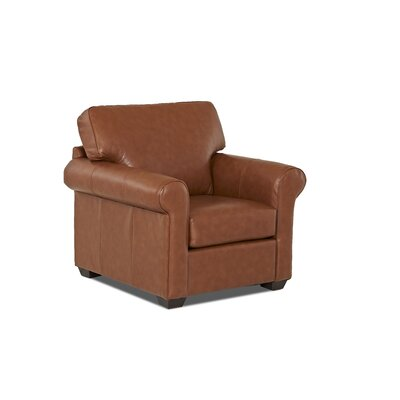 Rachel Club Chair Body Fabric: Durango Acorn, Leather Application: Leather Match
