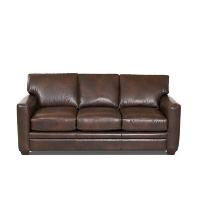 Carleton Leather Sofa Body Fabric: Steamboat Driftwood, Leather Application: Leather Top