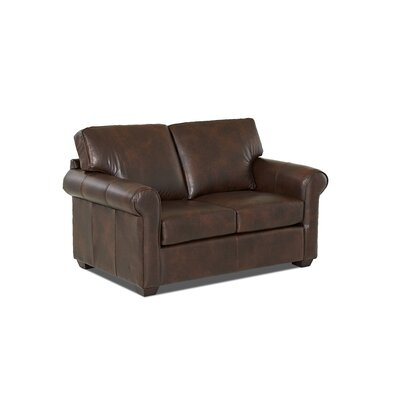 Rachel Leather Loveseat Leather Application: Leather Top, Body Fabric: Steamboat Driftwood