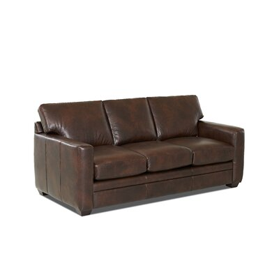 Carleton Leather Sofa Leather Application: Leather Top, Body Fabric: Steamboat Driftwood
