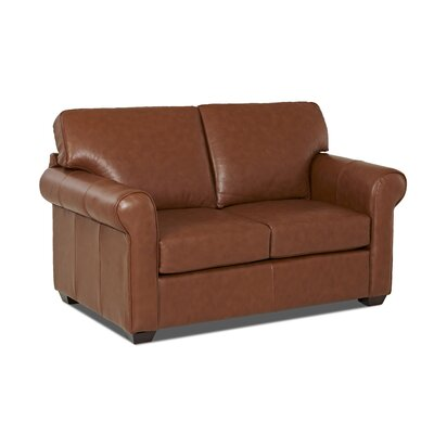 Rachel Leather Loveseat Body Fabric: Durango Acorn, Leather Application: Leather Top