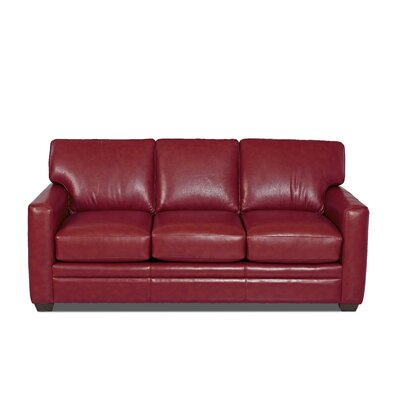 Carleton Leather Sofa Body Fabric: Durango Strawberry, Leather Application: Leather Top