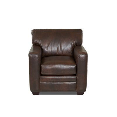 Carleton Club Chair Body Fabric: Steamboat Driftwood, Leather Application: Leather Top