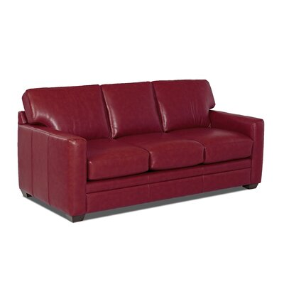 Carleton Leather Sofa Body Fabric: Durango Strawberry, Leather Application: Leather Match