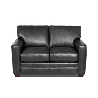 Carleton Leather Loveseat Body Fabric: Steamboat Charcoal, Leather Application: Leather Match