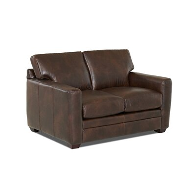Carleton Leather Loveseat Body Fabric: Steamboat Driftwood, Leather Application: Leather Match