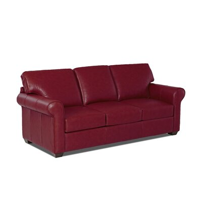 Rachel Leather Sofa Body Fabric: Durango Strawberry, Leather Application: Leather Match