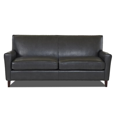 Grayson Leather Sofa Body Fabric: Steamboat Charcoal