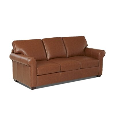 Rachel Leather Sofa Body Fabric: Durango Acorn, Leather Application: Leather Match