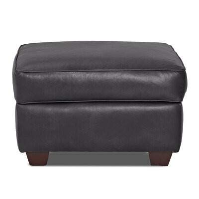 Jennifer Leather Ottoman Body Fabric: Steamboat Charcoal