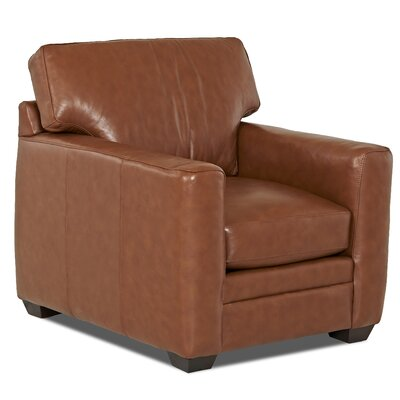 Carleton Club Chair Body Fabric: Durango Acorn, Leather Application: Leather Top