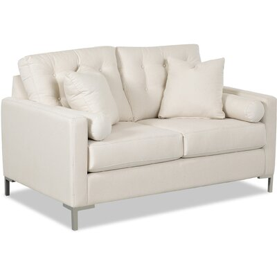 Harper Loveseat with Metal Legs Body Fabric: Spinnsol Azure