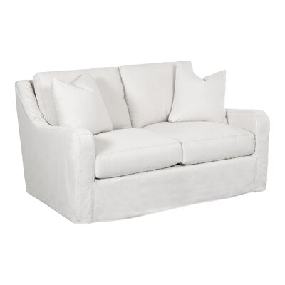 Maggie Loveseat Body Fabric: Curious Silver, Pillow Fabric: Curious Silver