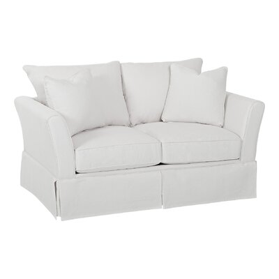 Shelby Loveseat Body Fabric: Curious Silver, Pillow Fabric: Curious Silver