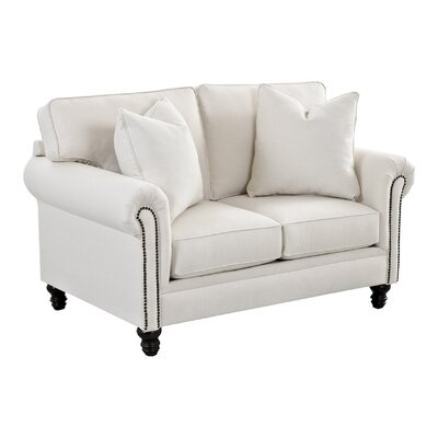 Vivian Loveseat Body Fabric: Curious Pearl, Nailhead Finish: Pewter