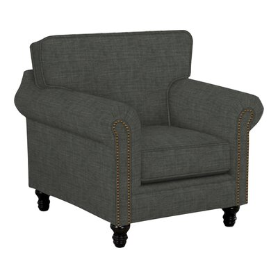 Vivian Arm Chair Body Fabric: Lizzy Graphite, Nailhead Finish: Pewter